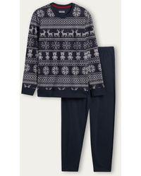 Intimissimi Langer Pyjama mit norwegischem Muster - Schwarz