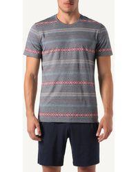 Intimissimi Native Stripe Print Cropped Jersey Pajamas - Gray