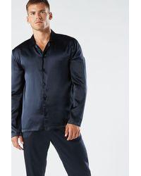 Intimissimi Long Silk Piped Pajamas - Blue