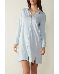 Intimissimi Langärmeliges Nachthemd aus Supima® Baumwolle Ultrafresh Sporty Cotton - Blau