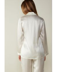 Intimissimi Silk Satin Boyfriend-fit Pajama Top - White