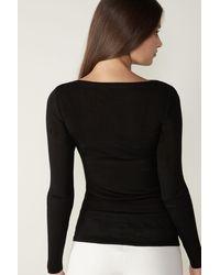Intimissimi T-shirt manches longues en laine et soie - Noir