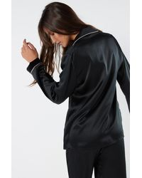 Intimissimi Silk Satin Boyfriend-fit Pajama Top - Black
