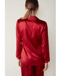 Intimissimi Silk Satin Boyfriend-fit Pajama Top - Red