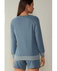 Intimissimi Sporty Elegance Long Sleeve Top In Plush Modal - Blue
