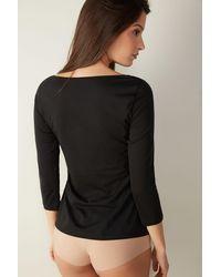 Intimissimi T-shirt à col bateau en coton ultrafrais supima® - Noir