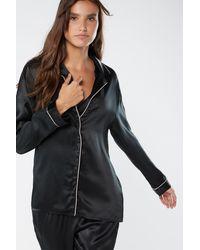 Intimissimi Jacke im Herrenschnitt aus Seidensatin - Schwarz