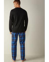 Intimissimi Pijama Largo con Estampado Tartán Azul - Negro