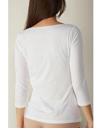Intimissimi T-shirt à col bateau en coton ultrafrais supima® - Blanc