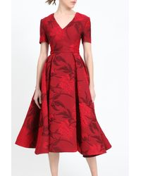 Irene Luft Short Sleeve Midi-dress With Pleated Skirt And Floral Pattern - Red