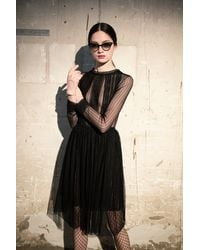 Irene Luft Lace Dress With Cuffs - Black
