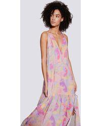 IRO Mauge Geometric Printed Backless Maxi Dress - Pink