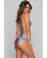 Kai Lani High Waist Lace Bikini Bottom - Blue