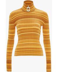 JW Anderson Striped Wool Turtleneck Sweater - Yellow