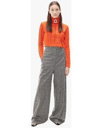 JW Anderson Cropped Darning Knitted Sweater - Orange