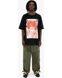 JW Anderson Oversized Printed Face T-shirt - Black