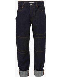 JW Anderson Logo Grid Turn Up Workwear Jeans - Blue