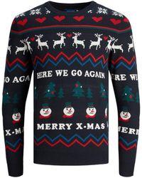 Jack & Jones Kerst Gebreide Trui - Blauw