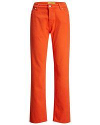 Jack & Jones Jxseoul Mw Jeans Akm Straight Fit Jeans Dames Oranje