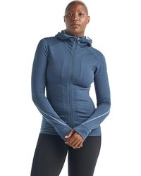 Icebreaker Merino Quantum Ii Long Sleeve Zip Hood Jacket - Blue