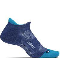 Feetures Merino 10 Cushion No Show Tab Socks - Blue