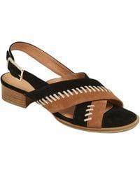 Jack Rogers Amelia Stitched Suede City Sandals - Black