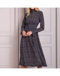 Jack Rogers Senlis Juliette Smocked Long Sleeve Midi Dress - Black