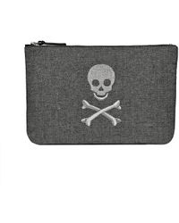 Jack Rogers Embroidered Skull & Crossbones Pouch - Metallic