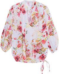 120% Lino Blouse Floral Multicolor - Mehrfarbig