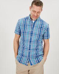 Jaeger Short Sleeve End On End Check Shirt - Blue