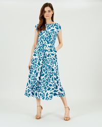 Jaeger Fit And Flare Animal Print Dress - Blue