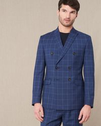 Jaeger Double Breasted Slim Bold Check Suit Jacket - Blue