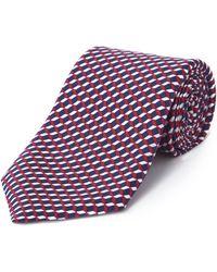 Jaeger Silk Square Geo Printed Tie - Multicolour
