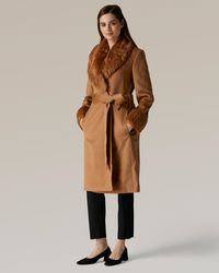 Jaeger Faux Fur Collar And Cuff Coat - Brown