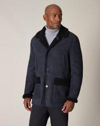 Jaeger Shearling Overcoat - Blue