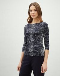 Jaeger - Speckle Print Side Gathered Jersey Top - Lyst