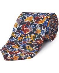 Jaeger Silk Linen Painted Floral Print Tie - Blue
