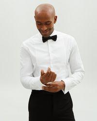 Jaeger Slim Evening Marcella Bib Double Cuff Shirt - White