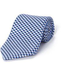 Jaeger Silk Square Geo Printed Tie - Blue