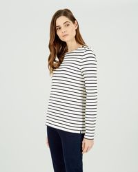 Jaeger Breton Enamel Button Jersey Top - White
