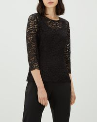 Jaeger - 3/4 Sleeve Lace Top - Lyst