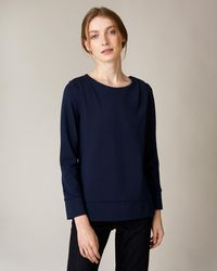 Jaeger Shoulder Tuck Detail Jersey Top - Blue