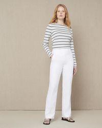 Jaeger Linen Parallel Leg Trousers - White