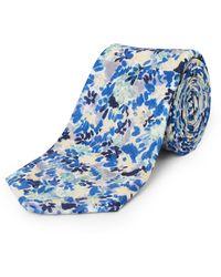 Jaeger Silk Linen Painted Floral Tie - Blue