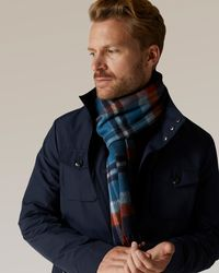 Jaeger Wool Cashmere Large Check Print Scarf - Blue