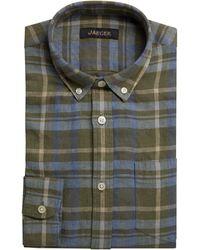 Jaeger Long Sleeve Linen Madras Check Shirt - Multicolour