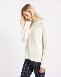 Jaeger | Wool Rib Funnel Neck Sweater | Lyst