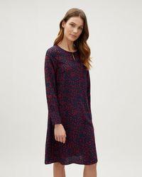 Jaeger - Ditsy Print Silk Flare Dress - Lyst