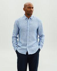 Jaeger Linen Stripe Shirt - Blue