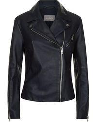Jaeger Essential Casual Leather Biker Jacket - Blue